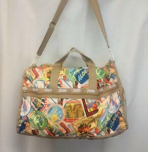 LeSportsac Extra Large Weekender Bag Travel Destinations Print Exterior Pockets