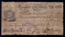 "Great Britain: KINGSBRIDGE BANK 1825 £1 Kingsbridge ""COAT OF ARMS"". Outing 1068c"