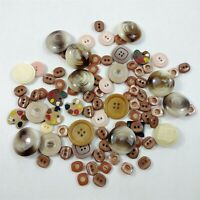 Button Lot Vintage Cream & Brown Round Plastic Paint Buttons Mixed Lot
