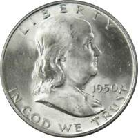 1950 D Franklin Half Dollar BU Uncirculated Mint State 90% Silver 50c US Coin