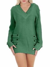 Womens 14 Button V Neck Knitted Jumper Casual Ladies Dress Size UK S M L XL S/m Green 95 Acrylic 5 Elastane