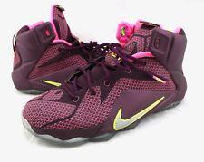 NIKE Lebron XII 12 Merlot Crimson Wine Raspberry Pink GS Sneakers 7Y 685181-600