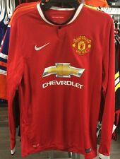 Team Manchester United Soccer Red Home Jersey Long Sleeves Premier League Large