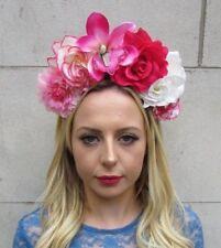 Blush Pink Emerald Green Rose Flower Sugar Skull Headband Day of the Dead 6157