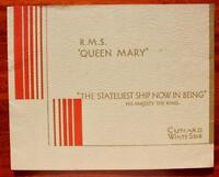 CUNARD WHITE STAR LINE RMS QUEEN MARY PRE MAIDEN VOYAGE STATELIEST SHIP BROCHURE