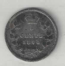 CANADA,  1874-H CROSSLET '4',   5 CENTS,  SILVER,  KM#2,  FINE  (Note)