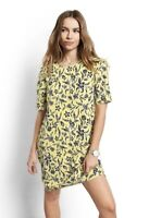 Hush Ladies Bnwt Yellow Black White Floral Dress Size 8 Rrp £59