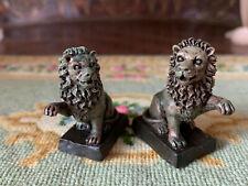 Vintage Artisan Miniature Dollhouse Pair Figural Lion Sculptures Fireplace Entry