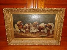 Antique Oil on Canvas Painting of Five Saint Bernard Puppies, Dogs