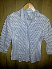 TARGET Ladies OFFICE WEAR Button Up Collar SHIRT Stretch Brown Stripe VGUC