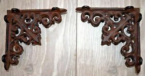 Cast Iron Wall Brackets (x2) Shelf Vintage Victorian Antique Ornate Shelving