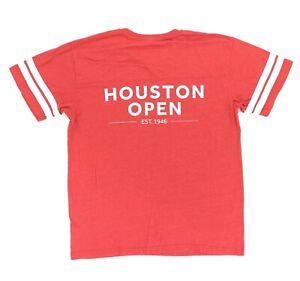 "Houston Open Adult Large 42"" Baseball Jersey T Shirt Red Golf Texas PGA Cotton"