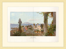 Bei Neapel Sicht aufs Meer Terasse nach Gemälde von A. Treidler G 227