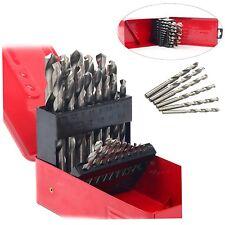 25Pcs Twist HSS High Speed Steel Drill Kit 1mm-13mm Metric Drill Bit Tool Set
