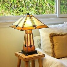 Tiffany Style Table Lamp 2 Light Handcrafted Lit Base Mission Glass Bronze S