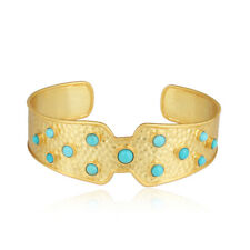 Hammered Design Yellow Gold Plated 925 Silver Turquoise Wide Cuff Bangle Jewelry