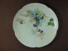 J & C Bavaria Louise Porcelain Hand Painted Plate Blackberries on Vine Gold Trim