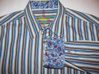 Robert Graham MEN BLUE WHITE STRIPE Lawn Chair FLIP CUFF LONG SLEEVE Shirt XL