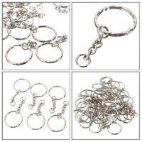 10/50/100Pc Keyring Blanks Silver Tone Keychain Key Fob Split Rings 4 Link Chain