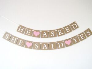 He Asked She Said Yes Wedding Hen Do Party Bunting Banner Garland Decoration