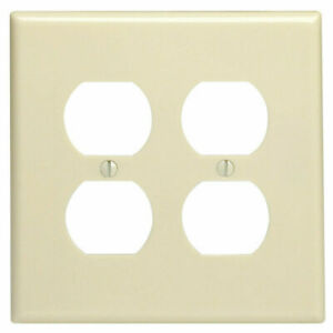 2-PK Leviton IVORY 2-Gang OVERSIZED RECEPTACLE WALL PLATE Cover 86116 NEW