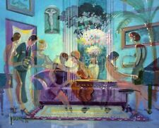 Brothel Women Nude Show Girls Pin Ups Couch Hair Michael Young Painting Art Deco