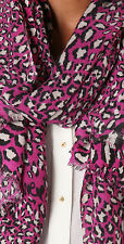 """Sale! New Diane Von Furstenberg Cashmere Kenley Leopard Pink Scarf 80""""x40"""" Large"""