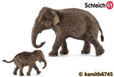 Schleich Indio Elefante & Becerro de plástico sólido Juguete Animal Salvaje Zoológico De Asia * Nuevo 💥