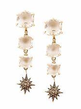18KT Noble Gold H Stern Moonlight Crystal & Diamond Dangle Earrings, 9.2 Grams