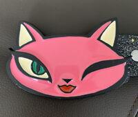Retro MOBTOWN/EVILKID Winking Pretty Kitty Cat Enamel Belt Buckle With Belt