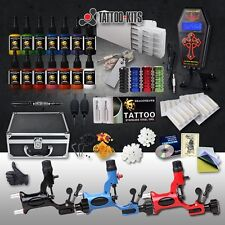Professional Complete Tattoo Kit 3 Top Rotary Machine Gun 14Color Ink 50 Needles
