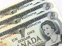 1973 Canada 1 Dollar 3 Consecutive Uncirculated BAS Crow Bouey Banknotes R356