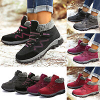 Women Ladies Winter Warm Fur Lined Flat Lace Up Snow Ankle Outdoor Boots Shoes