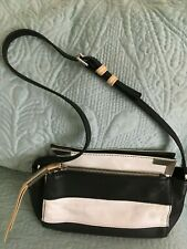 B.Makowsky Black and White Pebbled Leather Shoulder Bag Purse