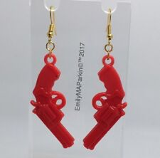 Large Red Pistol Gun Charm Earrings Hooks Kitsch Unusual B012 Hooks