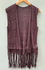 Skif Skifo Sweater Purple Vest Fringed Sleeveless Cardigan Open Front One Size