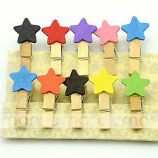 10PCS Colour Star Wood Clips Photo Paper Pegs Clothespin Craft Decoration 1 Set