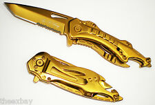 STAINLESS TANTO BLADE Tactical Assisted Bottle Open Folding Knife Gold Titanium