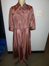 1940's Natalie Nolder Checked Green and Pink Dress w/ Bow and Buttons on front