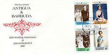 ANTIGUA & BARBUDA 1988 40th WEDDING ANNVERSARY SET 4 ON FIRST DAY COVER FDI