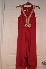 NWT  Monsoon Womens evening formal Chiffon Harriett Dress - Red US 4 UK 8
