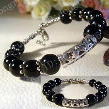 New! Fashion Jewelry Tibet Tibetan Silver Black Onyx Ladies Bracelet Bangle
