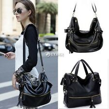 Women Handbag Shoulder Bag PU Leather Tote Purse Messenger Hobo Bags Black DZ88