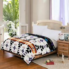 Southwest Design Silk Touch Reversible Queen Size Blanket White - Black 76x92 in