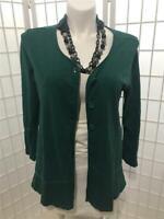 Women's Habitat Large Hunter Green 100% Cotton 3 Button Blouse/Cardigan