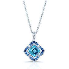 14k White Gold Natural Square Swiss Blue Topaz Sapphire Diamond Pendant Necklace