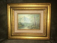 Mountain Scene Oil Painting on Board Frame Signed by Artist Antonio