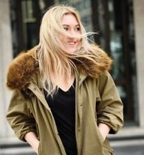 Zara anorak parka chaqueta abrigo con piel de color caqui Tamaño S Bufanda