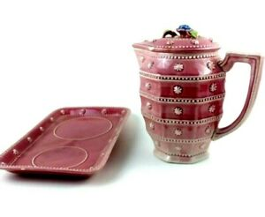 Large Vintage Majolica Pitcher with Lid Pink Decor Japan Mid Century with Tray