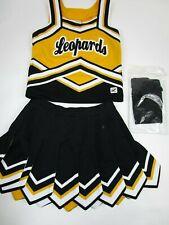 "NEW Child Leopards Cheerleader Uniform Fly Away Pleats Skirt + Briefs 30"" Top"